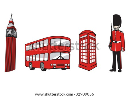 illustration of All Over the World Travel icons . London Elements. - stock photo