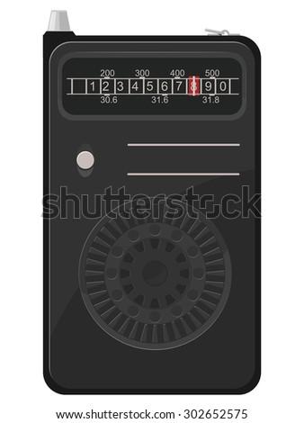 illustration of an old portable radio - stock photo