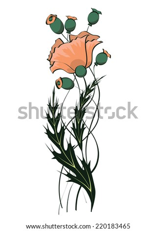 illustration of art nouveau floral pattern with poppy - stock photo
