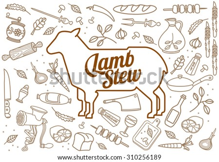 illustration of beef, pork, lamb and chicken, vegetables image, bread, drinks and cooking tools.