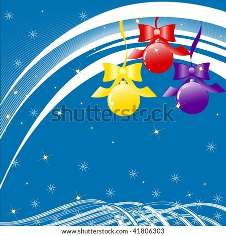 illustration of Christmas tree decoration with bows, waves