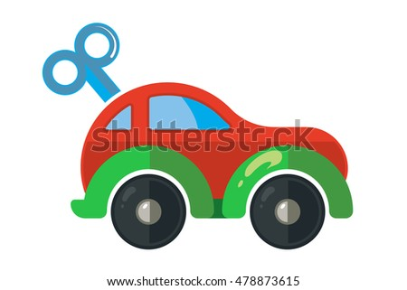 illustration of clockwork little car for kids isolate on white background. Icon picture made in modern flat style for web or game design.