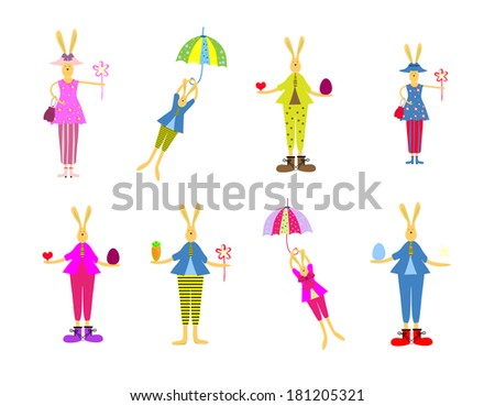 illustration of collection of Easter bunny. Happy Easter design elements set - stock photo