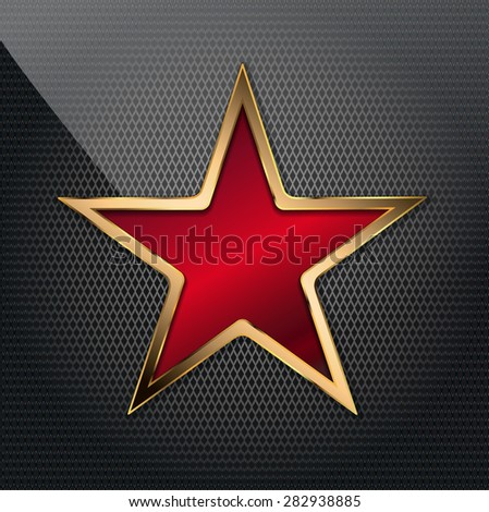 illustration of copper red star on grid background - stock photo