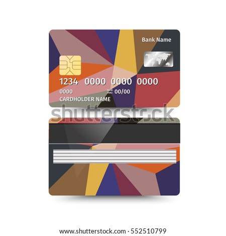 illustration of Credit Card two sides with Abstract Polygon design on white background. Different coloured sample
