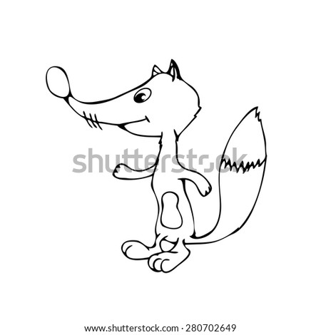 illustration of cute animal.  illustration of cartoon fox. Cute cartoon fox - stock photo
