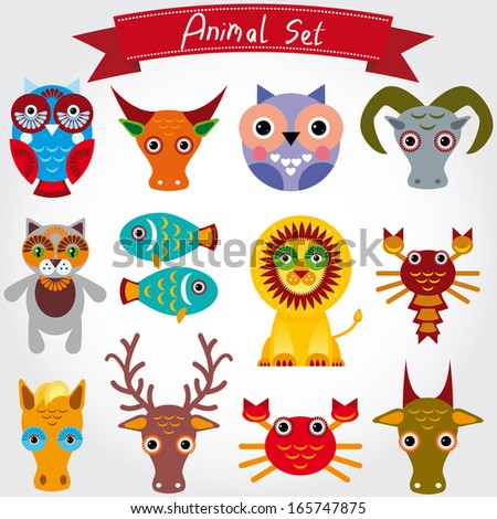 illustration of cute animal set including lion, cat, horse, cow, scorpion, cancer, fish, owls, deer, goat, ox - stock photo