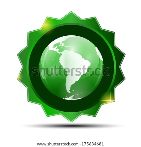 Illustration of Green Label with Globe Map - stock photo