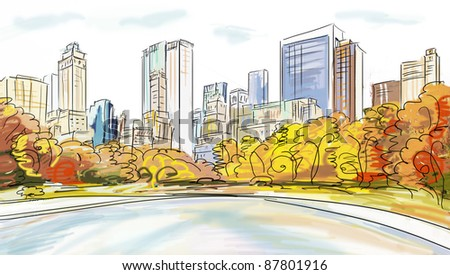 illustration of ice skaters in City - stock photo
