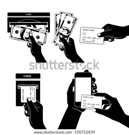 Illustration of Icon set with Hands holding credit card, smartphone, money and other commercial objects - stock photo