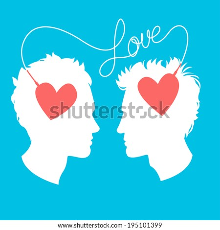 Illustration of   Illustration of Profiles of two men connected by love wire