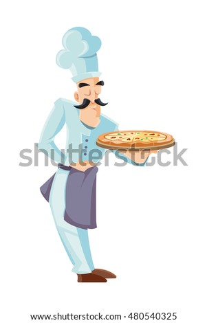 illustration of itallian cook holding tray with pizza. Picture isolated on white background