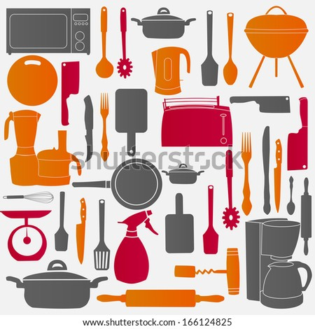 illustration of kitchen tools for cooking - stock photo