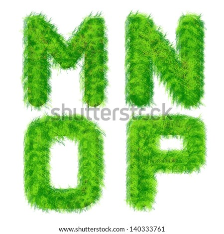 Illustration of letters of the alphabet out of the grass on a white background