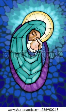 Illustration of Madonna with infant Jesus in her arm . - stock photo