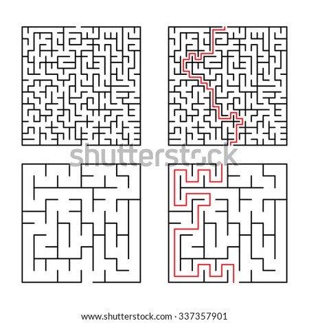 Illustration of maze / labyrinth. Isolated on white background. - stock photo