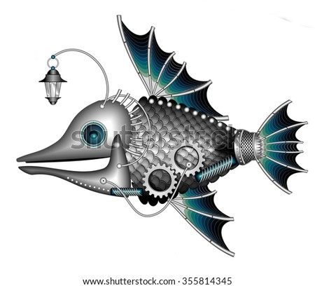 illustration of Mechanical fish in steam punk style - stock photo