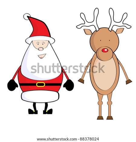 Illustration of Santa Claus and Deer. Christmas - stock photo