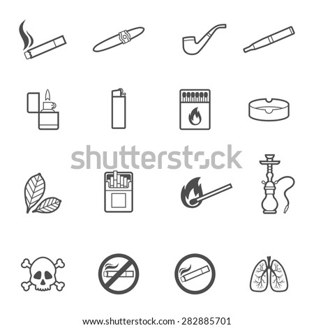 illustration of smoking line style icons set - stock photo