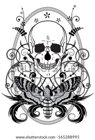 illustration of the skull and butterfly in black and white colors - stock photo