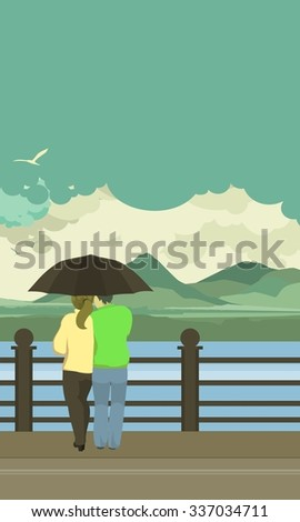 illustration of the vertical pier is loving couple under an umbrella - stock photo