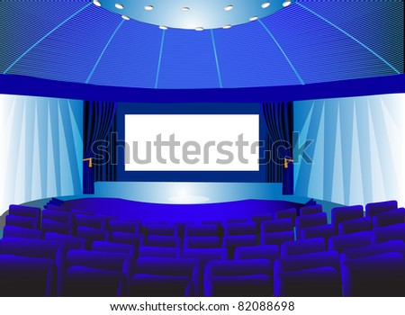 illustration premises blue theater with screen and chair - stock photo