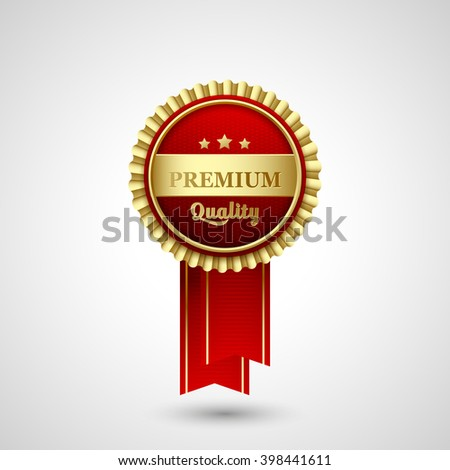 illustration Premium Quality Badge red Label design - stock photo