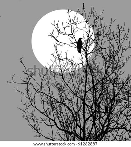 illustration ravens sitting on tree against sun - stock photo