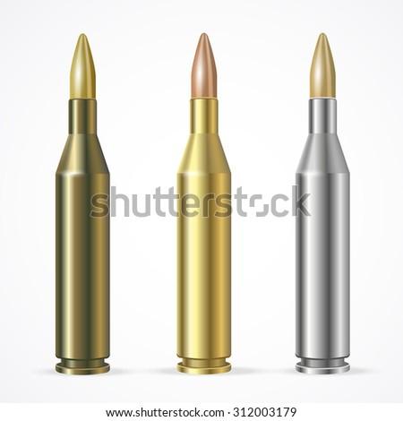 illustration Rifle Bullet Set isolated on a white background ammunition.  - stock photo