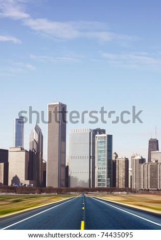 (illustration) Road with blurred city panorama on horizon - stock photo
