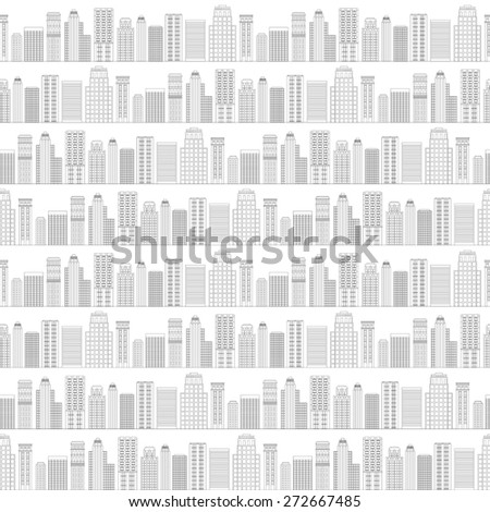 illustration Seamless pattern of line skyscrapers. Black and white - stock photo