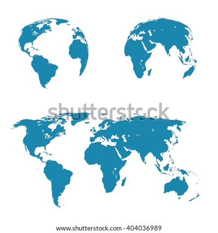 illustration set - map of the world, the two hemispheres