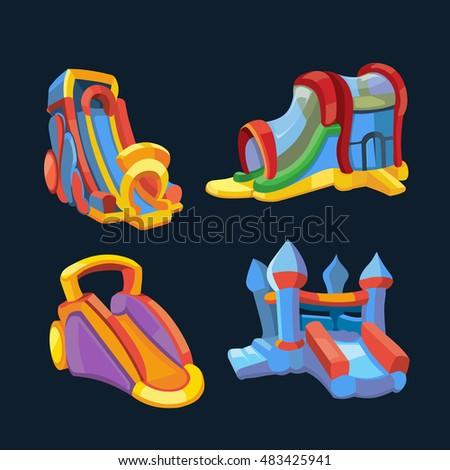 illustration set of inflatable castles and children hills on playground. Pictures in modern flat style, isolate on dark background