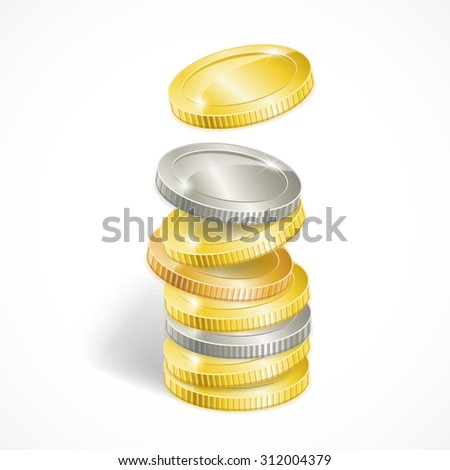 illustration stacks of golden and silver coins isolated - stock photo