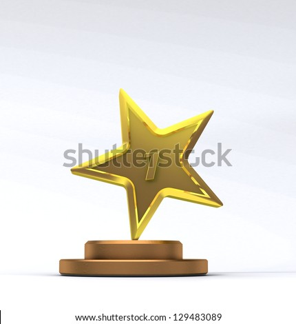 illustration  star gold trophy - stock photo
