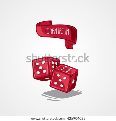 illustration two dice. Symbol of gambling and luck. Game in casino. Handdrawing symbol - stock photo