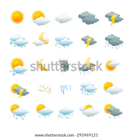 illustration weather icon set isolated on a white background. the concept of weather change - stock photo