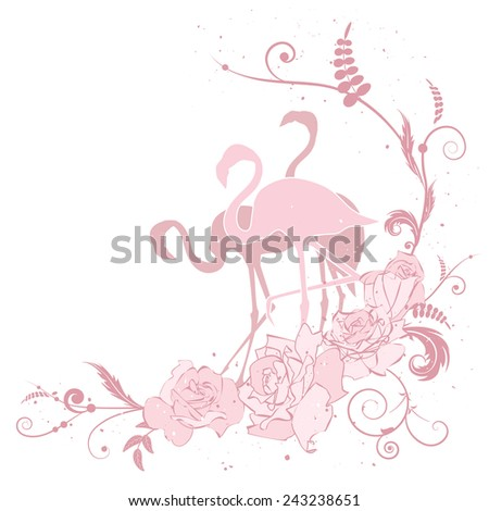 illustration with flamingo and roses in pink colors - stock photo