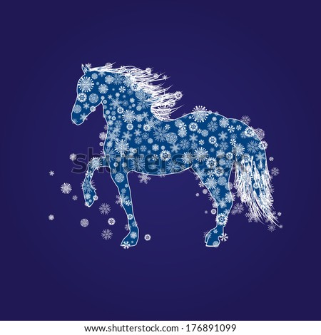 illustration with horse and snow in blue and white colors