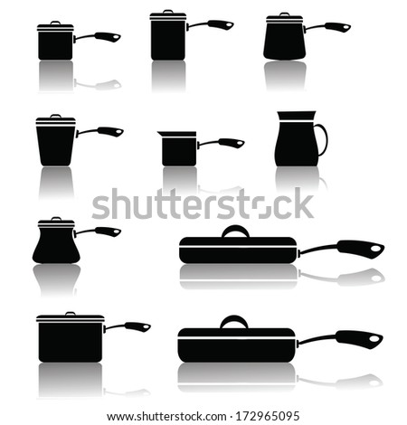 illustration with set of pots and pans for your design - stock photo