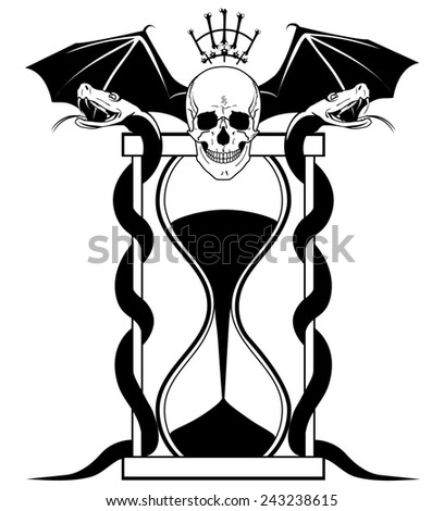 illustration with skull,  serpents and sandglass in black and white colors - stock photo