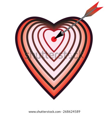illustration with target as heart and arrow - stock photo