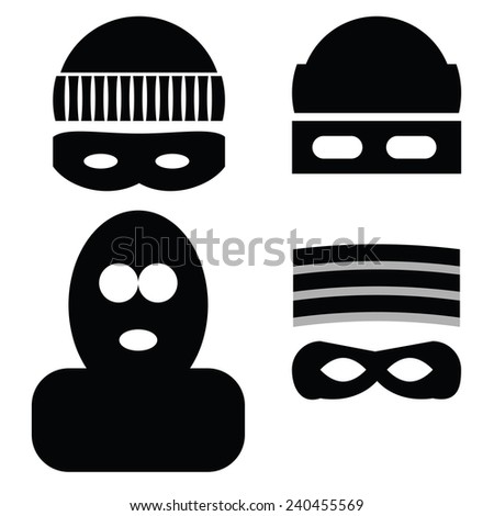 illustration  with thief icons on white background - stock photo