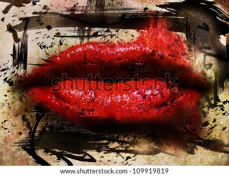 image from people background texture series (lips with a grunge look and background)