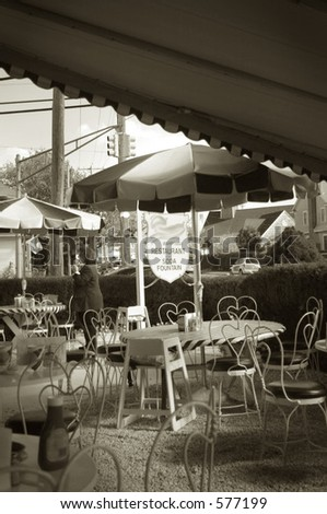 Image of a cafe at the New Jersey Sea Shore. Quad-toned for nostalgic feeling. - stock photo