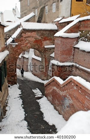 image of a snowing winter at Sibiu, Romania