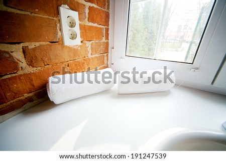 Image of a towels in the spa - stock photo
