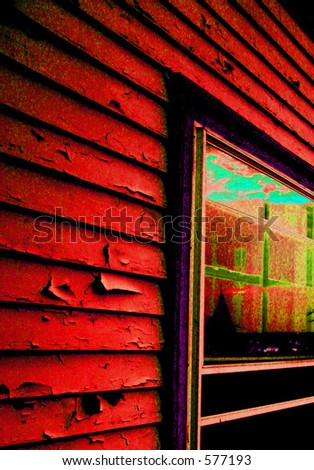 Image of a window with adjacent siding of a private home. Colors changed to achieve popart feeling. - stock photo