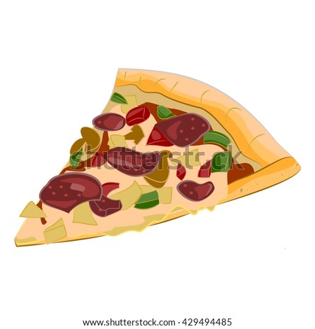 image of creative pizzas meats. Cartoon Icon Italian pizza. A slice of pizza for the design.