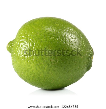 image of one lime on white background